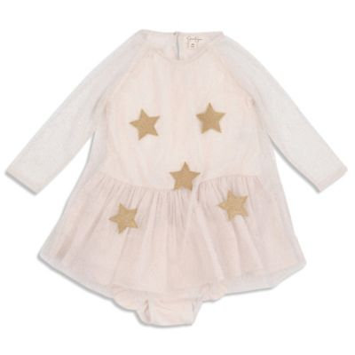 Jessica Simpson Size 3T 2-Piece Star Sparkle Dress and Diaper Cover Set in Ivory