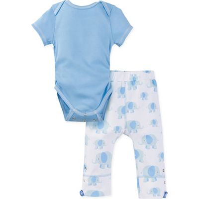 MiracleWear® Size 12-18M 2-Piece Posheez Snap 'n Grow Elephant Bodysuit and Pant Set in Blue