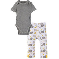 Miraclewear Size 6-12M 2-Piece Elephant Snap'n Grow Bodysuit and Pant Set in Grey/Yellow