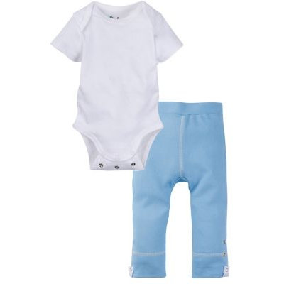 Miraclewear Size 0-6M 2-Piece Posheez Snap'n Grow Bodysuit and Pant Set in White/Blue
