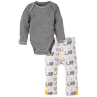 Miraclewear Size 6-12M 2-Piece Elephant Snap'n Grow Long-Sleeve Bodysuit and Pant Set in Grey