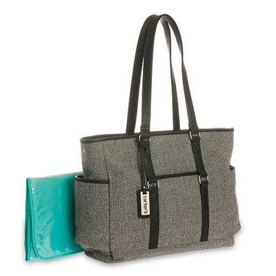 Carter's Herringbone Black Diaper Bag