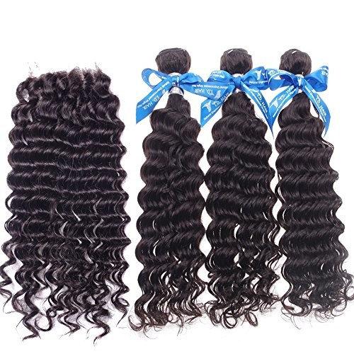 TD Hair Brazilian Virgin Hair Deep Wave Double Weft 9A 3 Bundles 100% Unprocessed Remy Human Hair Weave Extensions Natural Color (30''x4)