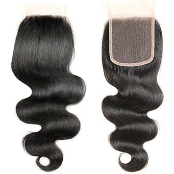 ALI GRACE Hair Brazilian Body Wave Lace Closure 4x4 Free Part 120% Swiss Lace Remy Human Hair Closure(12