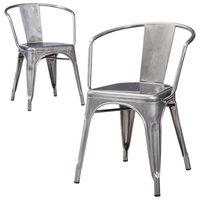 Dining Chair: Carlisle Metal Dining Chair - Natural Metal(Set of 2)