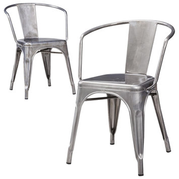 Dining Chair: Carlisle Metal Dining Chair - Natural Metal(Set of 2)