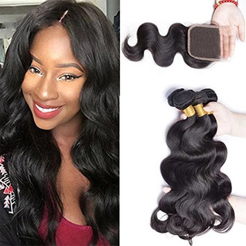 Maxine 9a Grade Peruvian Virgin Hair Body Wave Human Hair 3 Bundles with 4x4 Lace Closure 100% Unprocessed Hair Extensions Natural Color (14 16 18 with 12)