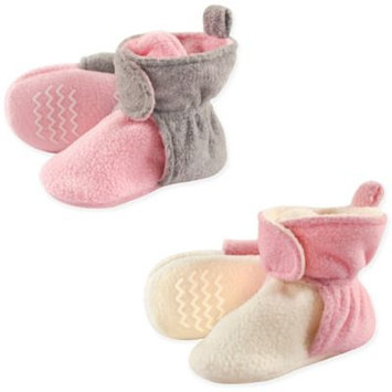 Hudson Baby Toddler Girl Fleece Non-Skid Sole Booties, 2-pack