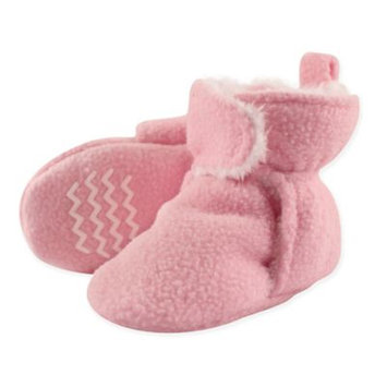 Hudson Baby Girl Sherpa Fleece Non-Skid Sole Booties