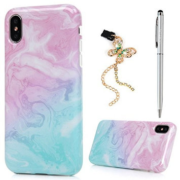 iPhone X Case, GEMYON Shockproof Drop Protection TPU Bumper Protective Back Cover Slim-Fit Flexible Easy Grip Colorful Painting Phone Case Cover with Data Cable Plug & Pen for Apple iPhone X