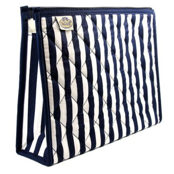 Cosmetic Bag, Full Polyester Lining, Two Interior Side Pockets, Black Flora/Black Trim, Cotton Fabric, Size: Small