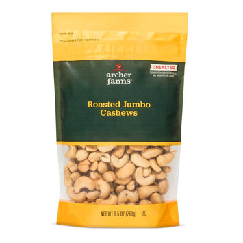 John B Sanfilippo & Sons Inc Roasted Non-Salted Jumbo Cashews 9.5 oz - Archer Farms