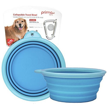 Prima Pet Collapsible Silicone Food & Water Travel Bowl with Clip for Dog and Cat, Sizes Available: SMALL (1.5 Cups) & LARGE (5 Cups)