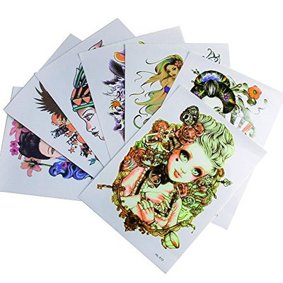 COOLBLOOM 7 Sheets Art Temporary Tattoo Transfer Sticker Fashion Waterproof Sternum Tattoos Creating Your Own Temporary Art Personalized Tattoos Stickers Long Lasting