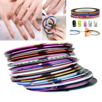 Eforcity INSTEN Mixed Multi Color Tape Line Nail Art Design Idea Sticker Sheet (Pack of 30)