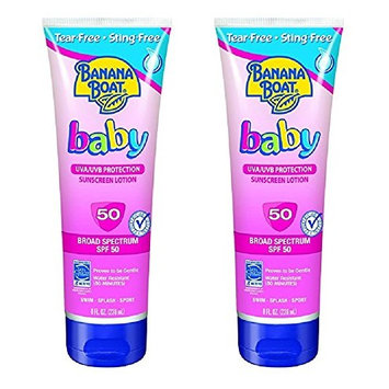 Banana Boat Baby Sunscreen Lotion SPF 50, 10 Ounce (2 Pack) + FREE Assorted Purse Kit/Cosmetic Bag Bonus Gift