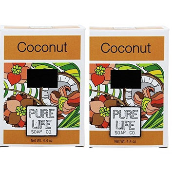 Pure Life Soap Co Coconut Soap Bar (Pack of 2) With Sesame Oil, Olive Oil, Coconut Extract and Rice Infusion, 4.4 oz Each