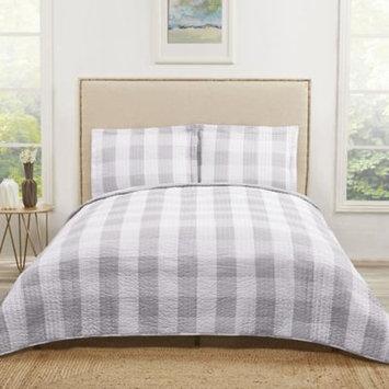Truly Soft Buffalo Plaid Twin XL Quilt Set in Grey