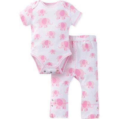 MiracleWear® Size 12-18M Posheez Snap 'n Grow Elephant Short Sleeve Bodysuit and Pants in Pink