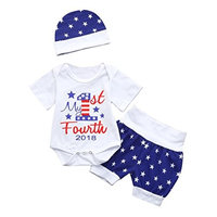 3Pcs Baby Girls BoysOutfits Clothes, Infant Baby Girls Boys 4th Of July Star Romper+Shorts+Hat Outfits Clothes