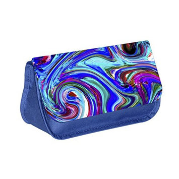 Abstract Print - Blue Medium Sized Makeup Bag with 2 Zippered Pockets