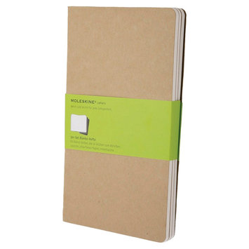 Moleskine Cahier Journals, No Rule, 3pk, 240 sheets, 5.25