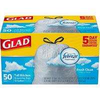 Glad OdorShield Febreze Fresh Clean Scent Tall Kitchen Drawstring Trash Bags 13 gal 50 ct