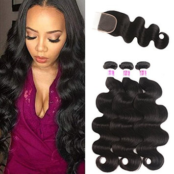 JiSheng Brazilian Body Wave Virgin Hair 3 Bundles with Lace Closure 100% Unprocessed Brazilian Hair with Closure Human Hair Weave Bundles Natural Color (16 18 20 with 14)