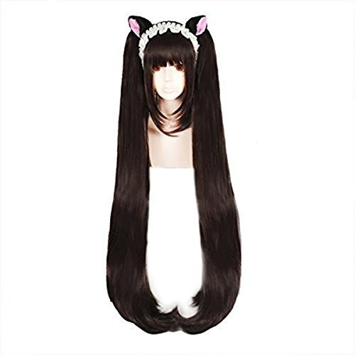 Anogol Hair Cap+Gril's Cosplay Wig Brown Long Straight Hair Halloween Wigs Costume