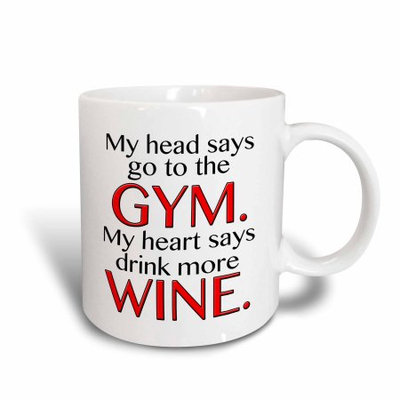 3dRose My head says go to the GYM my heart says drink more WINE. Red, Ceramic Mug, 15-ounce
