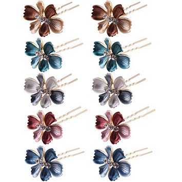 (Pack of 12 Pcs) LiveZone Beautiful Bride Wedding Hair Ornaments Maker Colorful Headdress U Shaped Bobby Pins Rhinestones Hair Pins Stick Forks with Flowers Shape for Women Girls : Beauty