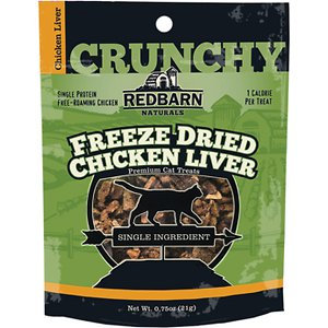 Redbarn Freeze Dried Crunchy Chicken Liver Cat Treats, 0.75-oz pouch