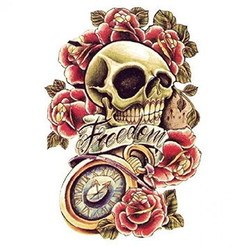 Grashine Halloween Tattoo for men and women colorful skull with roses and with the word freedom temporary tattoo stickers