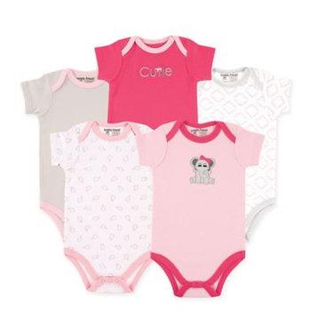 Luvable Friends Newborn Baby Girls Bodysuit 5-Pack Elephant