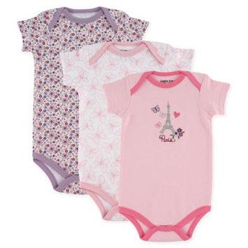 Luvable Friends Newborn Baby Girls Bodysuit 3-Pack Paris