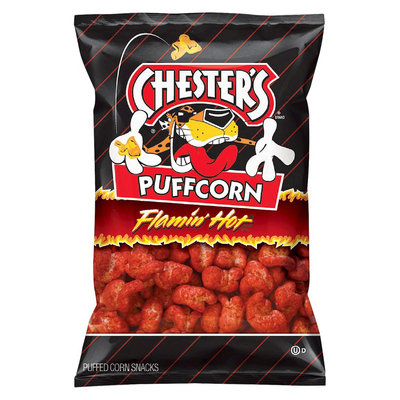 Frito Lay Chester's Puffcorn Flamin' Hot Puffed Corn Snacks 4.5 oz