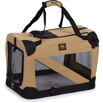 Pet Life Zippered 360 Vista View Pet Carrier in Khaki - Size: Medium (27.5