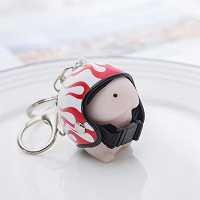 💗DEESEE(TM) 💗Dingding Squishy Toy Helmet Cute Keychain Squeeze Stress Reliever Prank Toy (C) : Beauty