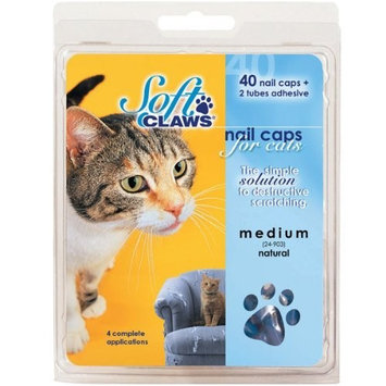 Soft Claws Feline Nail Caps - 40 Nail Caps and Adhesive for Cats