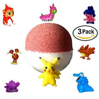 3 Pack XL Pokemon Surprise Bath Bombs! - Bubble Gum,Watermelon, & Cotton Candy