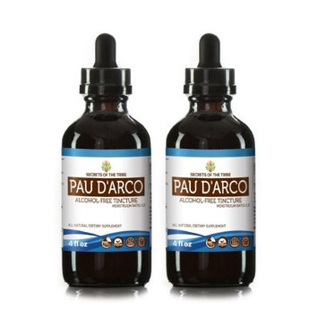 Secrets Of The Tribe Pau d'Arco Tincture Alcohol-FREE Extract, Wildcrafted Pau d'Arco (Tabebuia Impetiginosa) Dried Bark 2x4 oz