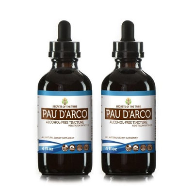 Secrets Of The Tribe Pau d'Arco Tincture Alcohol-FREE Extract, Wildcrafted Pau d'Arco (Tabebuia Impetiginosa) Dried Bark 2x4 oz