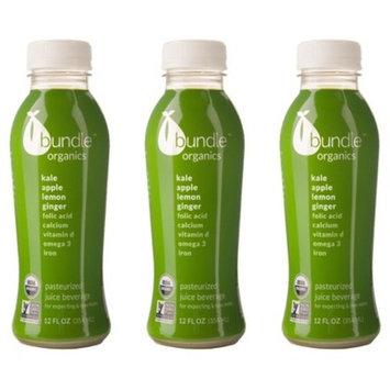 Bundle Organics Kale Apple Lemon Ginger Juice for Pregnant and Nursing Moms - 3 12oz bottles
