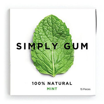 Simply Gum Natural Vegan Chewing Gum, Mint, 15 Count, Pack of 6 [Peppermint]