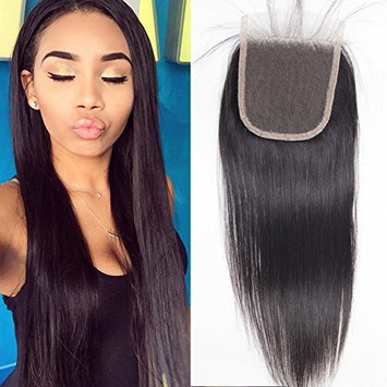 Puromi Free Part Brazilian Straight closure with Baby Hair 100% Unprocessed Virgin Brazilian Human Hair Top Lace Closure 4x4 Bleached Knots (16inch)