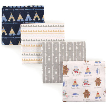 Luvable Friends Basics Baby Flannel Receiving Blankets, 4-Pack - Tribe