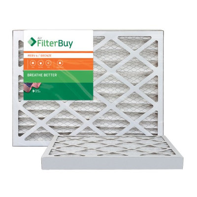 10x10x2 AFB Bronze MERV 6 Pleated AC Furnace Air Filter. Filters. 100% produced in the USA. (Pack of 2)