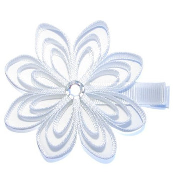 A Girl Company White Ribbon Flower Hair Clip