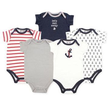 Luvable Friends Newborn Baby Boys Bodysuit 5-Pack, Nautical