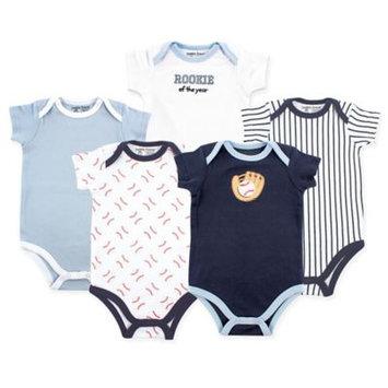 Luvable Friends Newborn Baby Boys Bodysuit 5-Pack, Baseball